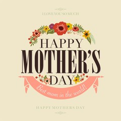 Vintage Happy Mothers Day Typographical Background