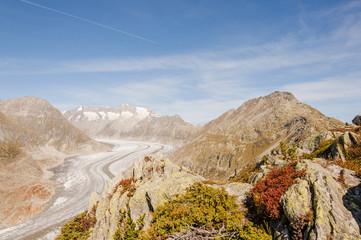 Riederalp, Schweizer Alpen, Gletscher, Aletsch, Herbst