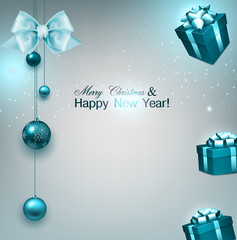Christmas background with gifts and blue balls. Xmas baubles.Vec