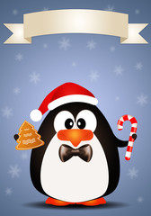 Penguin with candy cane and biscuit