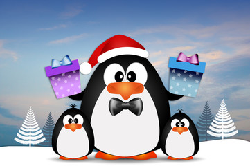 Family of penguins with gifts for Christmas