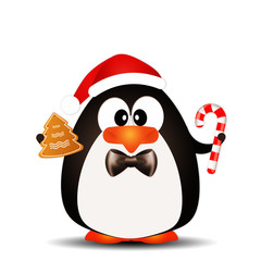 Funny penguin with candy cane