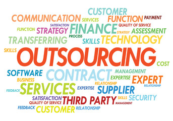 Outsourcing concept in word tag cloud on white background