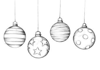 Bilder und videos suchen handgezeichnet - Weihnachtsbaumkugeln schwarz ...