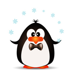 Funny penguin playing with snowflakes