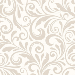 Vintage seamless beige floral pattern. Vector illustration.