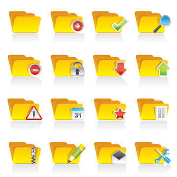 Different kind of folder icons - vector icon set