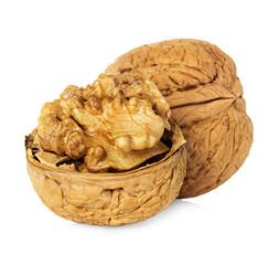 Half walnut kernel and whole walnut isolated on white background