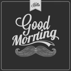 Good Morning Typographical Background On Chalkboard