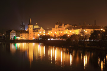 The night View on bright Prague Old Town, Czech Republic