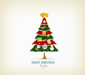 vintage christmas tree with icon and element - Videos Of Decorated Christmas Trees