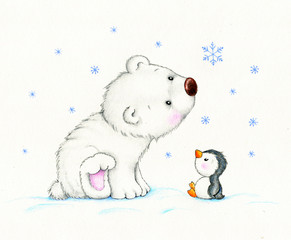 Cute polar bear and penguin