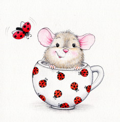 Cute mouse in the cap and ladybug