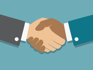 Vector icon handshake. Background for business and finance