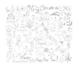 Merry Christmas Signs doodle Collection