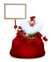 Santa Claus is in a bag and holds in a hand the announcement