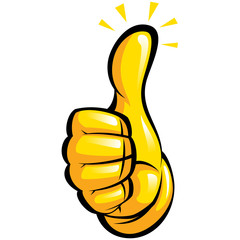 Hand with yellow glove in a fun thumbs up gesture