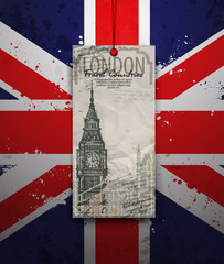 Big Ben Tower. London Landmark. Vector Hand-drawn Sketch