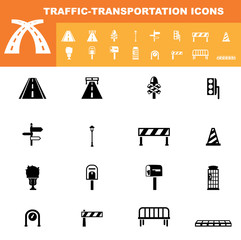 traffic-transportation icon set vector