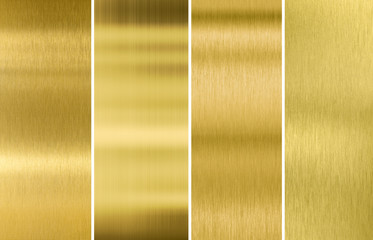 Wall Mural - Gold or brass brushed metal texture backgrounds set