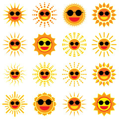 Sun smile and wear sunglass icon set on white background