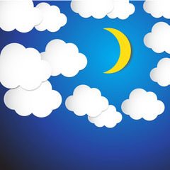 Abstract moon and cloud with blue sky background. Vector Illustr
