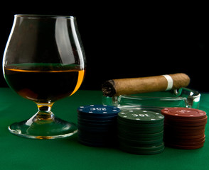 alcohol, chips and cigar