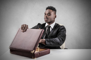 Businessman with leather briefcase