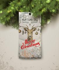 Merry Christmas. Christmas tree and label