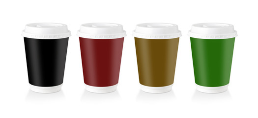 A Disposable Coffee Cup Whit Multi-Colored Label