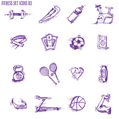Fitness bodybuilding diet sport exercise sketch decorative icons