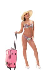 woman in bikini with travel suitcase