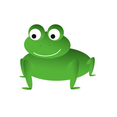 Illustration of an isolated green smiling frog