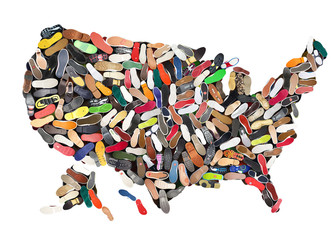 Fototapete - Map of the United States laid out different shoes