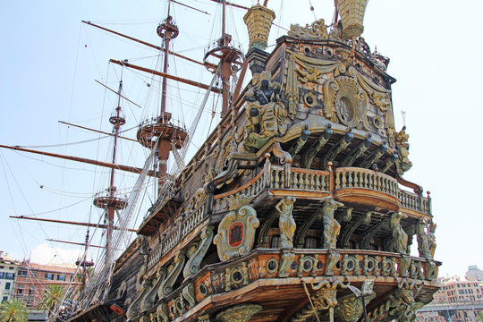 Stern Galeone Neptune, tourist attraction in the old port of Genoa, Italy