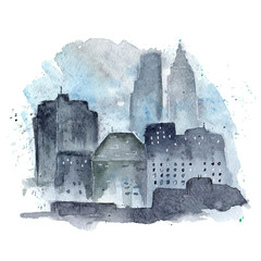 Watercolor illustration of silhouettes of skyscrapers