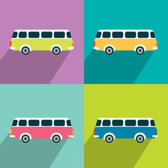 Retro bus concept paper vintage card. Flat design.