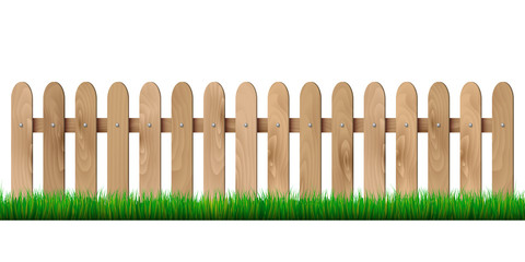 Wooden fence and grass - isolated on white background