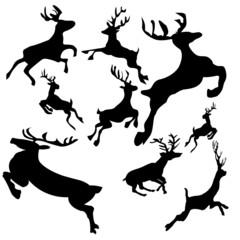 Christmas-Silhouette Reindeer Vectors