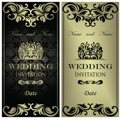 Template of wedding invitation. Set of two cards
