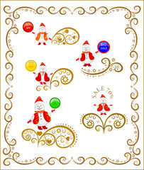 Winter background with snowman and decorative frame