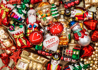 colorful christmas baubles, toys and garlands