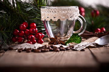 coffee with christmas decoration