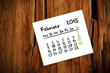 holztisch kalender jahr 2015 februar I
