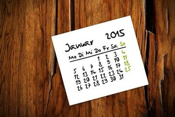 holztisch kalender jahr 2015 januar I