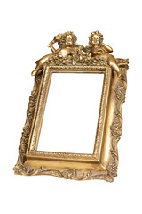 Gold picture frame with angels isolated, clipping path