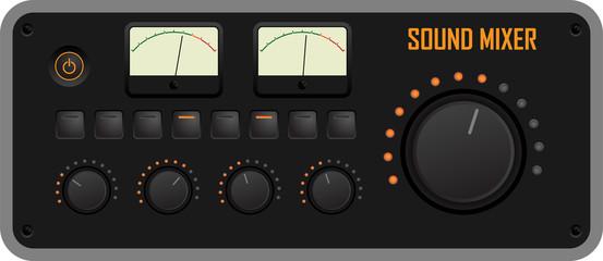 Vector illustration of a sound mixer control panel