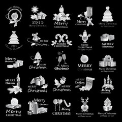 Christmas Icons And Elements Set - Isolated On Black