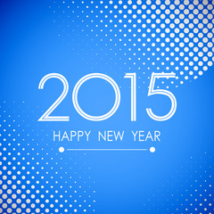 happy new year 2015 in white polka dot pattern blue background