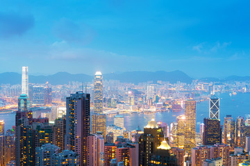 Panorama of Hong Kong skyline at night from Victoria Peak